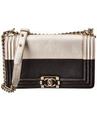 Chanel Gold & Black Calfskin Leather Boy Flap Bag
