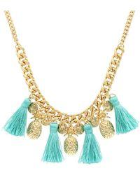 Sparkling Sage - 14k Plated Pineapple Tassel Necklace - Lyst
