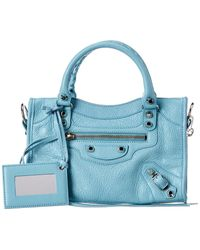 Balenciaga Classic City Mini Leather Shoulder Bag - Blue