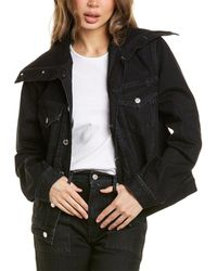 Helmut Lang Knit Collar Trucker Jacket - Black