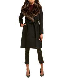 Via Spiga Belted Wool-blend Coat - Black