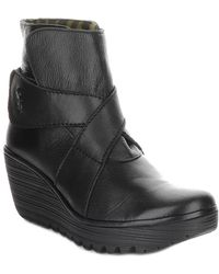 Fly London Yedd Leather Wedge Bootie - Black
