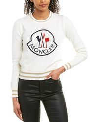 Moncler Logo-embroidered Wool And Cashmere-blend Jumper - White