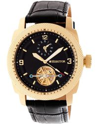 Heritor Helmsley Black Dial Leather Automatic Mens Watch - Multicolor
