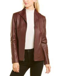 Cole Haan Black Short Leather Jacket - Brown