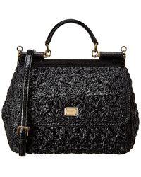 Dolce & Gabbana Black Sicily Raffia Tote Bag
