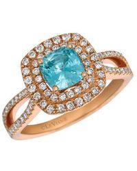 Le Vian ? 14k Strawberry Gold? 1.76 Ct. Tw. Diamond & Blue Zircon Ring