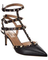 Valentino Garavani Rockstud Caged 65 Grainy Leather Ankle Strap Pump - Black