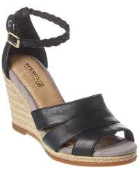 Sperry Top-Sider Skye Leather Wedge Sandal - Black
