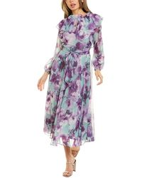Tahari Floral Chiffon Ruffled Dress - Purple