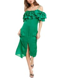 Maje Rovanta Ruffle Midi Dress - Green
