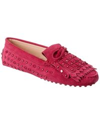 Tod's Tod?s Gommini Studded Suede Loafer - Pink