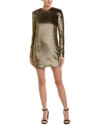 Saint Laurent Velvet Silk-blend Sheath Dress - Metallic