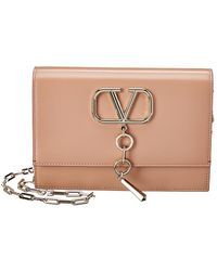 Valentino Small Vcase Bag In Beige Calfskin - Natural