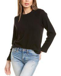 Monrow Rib Mix Raglan Sweatshirt - Black