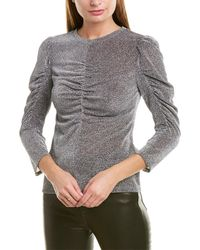 Rebecca Taylor Ruched Lurex Top - Gray