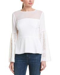 BCBGMAXAZRIA Bell Sleeve Blouse - White