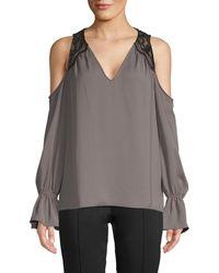 Ramy Brook Cold-shoulder Flare Sleeve Top - Grey