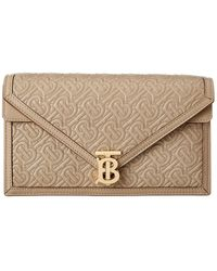 Burberry Small Quilted Monogram Tb Envelope Clutch - Metallic
