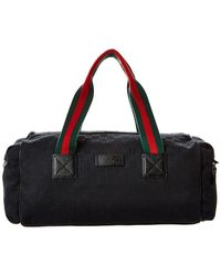 Gucci Black GG Canvas & Leather Web Duffle