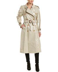 Burberry Laminated Gabardine Long-length Trench Coat - Gray