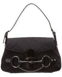9e4ca35bcaa Gucci - Black GG Canvas   Leather Horsebit Shoulder Bag - Lyst
