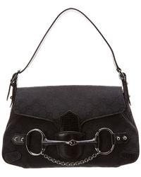 237c63520a41 Gucci - Black GG Canvas & Leather Horsebit Shoulder Bag - Lyst