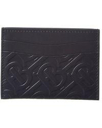 Burberry Sandon Card Case In Tb Monogramed Black Calfskin