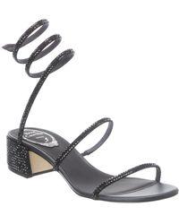 Rene Caovilla Cleo 40 Satin & Leather Sandal - Black