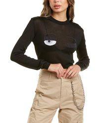 Chiara Ferragni Flirting Lurex Cropped Jumper - Black
