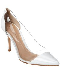 Gianvito Rossi 85 Plexi & Leather Pump - White