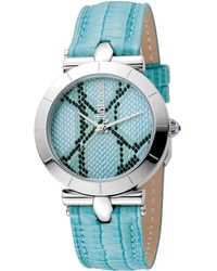 Just Cavalli Ice Blue Dial Ladies Leather Watch