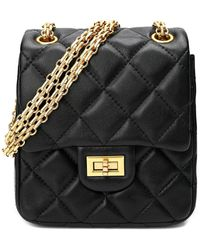 Tiffany & Fred Quilted Sheepskin Leather Crossbody - Black