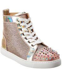 Christian Louboutin Lou Spikes Krystal Donna Patent Sneaker - Pink