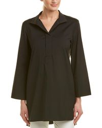 Lafayette 148 New York Poplin Tunic Top - Black