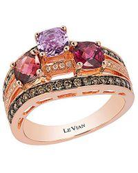 Le Vian 14k Rose Gold 2.02 Ct. Tw. White & Brown Diamond & Gemstone Ring - Pink