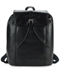 Cole Haan Flap Leather Backpack - Black