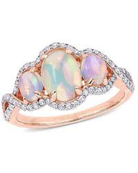 Rina Limor 10k Rose Gold 1.54 Ct. Tw. Diamond & Blue Ethiopian Opal Ring - Multicolour