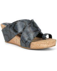 Donald J Pliner Gee Snake-embossed Wedge Sandal - Blue