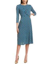 Donna Morgan Twist Front 3/4 Sleeve Jersey Dress - Blue