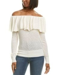 Tanya Taylor Pointelle Lace Wool-blend Jumper - White