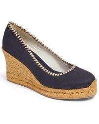 Jack Rogers Palmer Leather Wedge Sandal - Blue