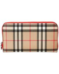 Burberry Vintage Check E-canvas And Leather Wallet - Multicolour