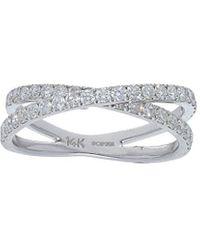 Nephora 14k 0.70 Ct. Tw. Diamond Cris Cross Ring - Multicolour