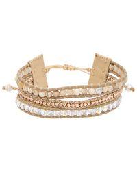 Chan Luu - Rose Gold Over Silver & Silver Agate & Crystal Leather Adjustable Bracelet - Lyst