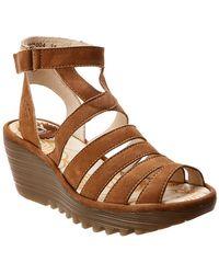 Fly London Yeba 895 Leather Wedge Sandal - Brown