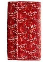 Goyard Red Ine Canvas Key Wallet