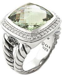 David Yurman - David Yurman Albion Silver 13.85 Ct. Tw. Diamond & Prasiolite Ring - Lyst
