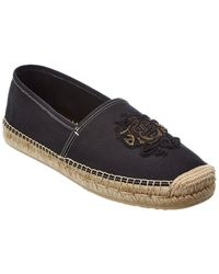 Dolce & Gabbana Arms Embroidery Canvas Espadrille - Black