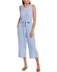 Vince Camuto Tranquil Stripe Linen-blend Top - Blue